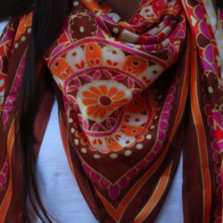 Countryside Shades Unique Dark Brown | Silk Scarf | Fuschia