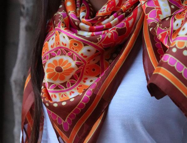 Countryside Shades Unique Dark Brown   Silk Scarf   Fuschia