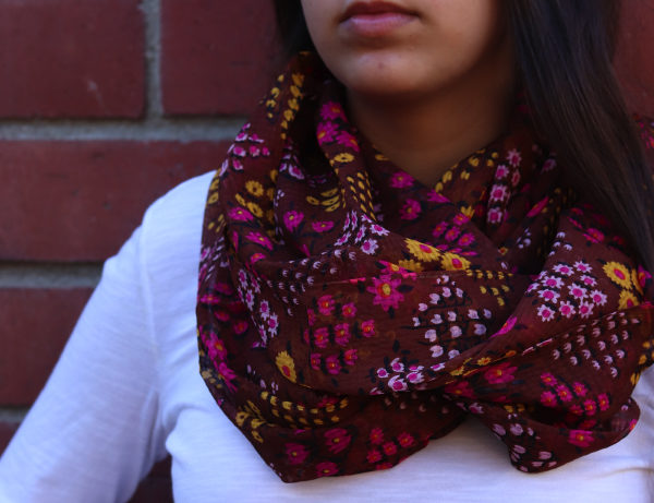 Flowers-N-Chocolate Dark Brown 100% Silk Chiffon Scarf Yellow | Fuschia Flowers