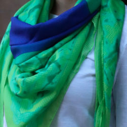 Green Fields-N-Sapphires Chic Brilliant Blue | Green Pure Silk Scarf
