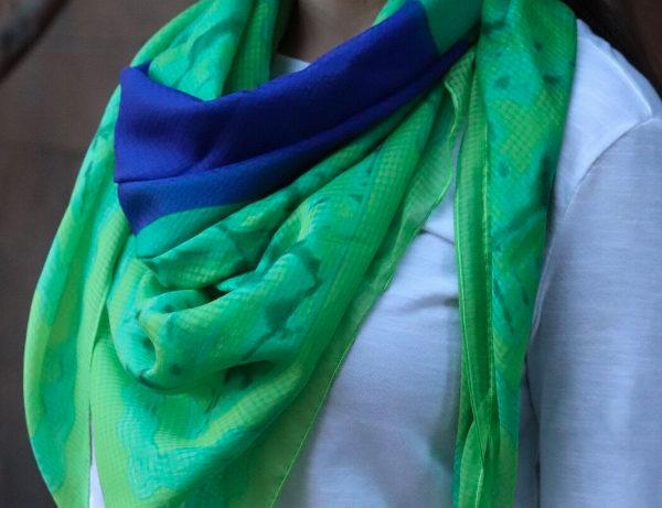 Green Fields-N-Sapphires Chic Brilliant Blue | Green Pure Silk Scarf