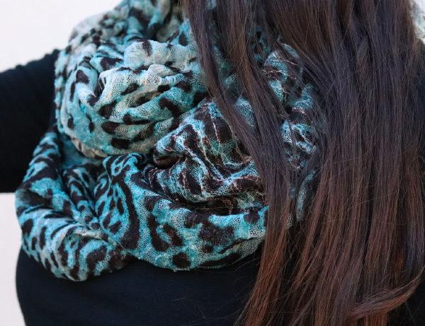 Into the Wild Unique Turquoise | Black Animal Print Infinity Loop Scarf