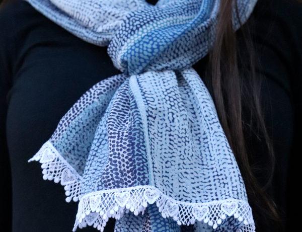 Stripes of Blue Simple Lightweight Scarf | Elegant White Lace Fringe