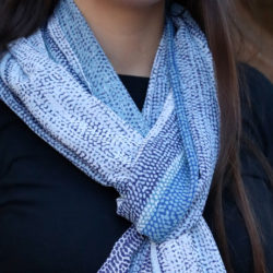 Stripes of Blue Simple Lightweight Scarf | Elegant White Lace Fringe