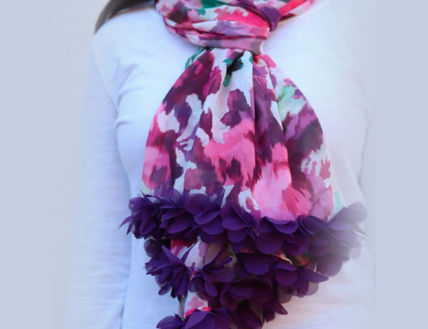 Fields of Flowers Fashionable Multicolored Scarf | Purple Ruffle Fringe