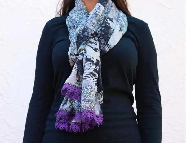 Just Paisley Simple Multicolored Scarf Purple Lace Fringe