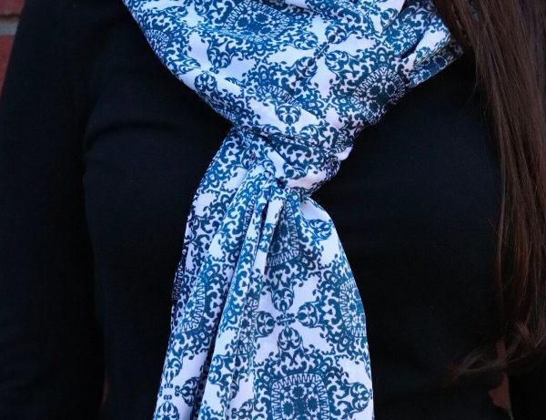 Mesmerizing Blue Opulent Geometric Silk Blue Scarf | Handmade
