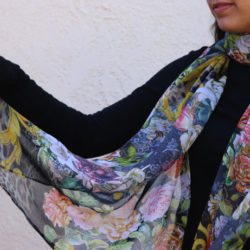 Midnight Bloom Classy Multicolored Scarf | Swarovski Crystal Accents