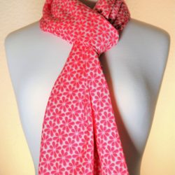 Pretty-N-Pink Bright Pink Silk Scarf | White Dainty Flowers