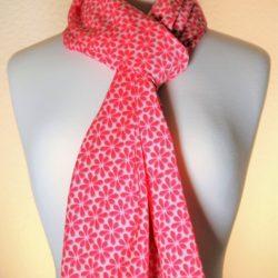 Pretty-N-Pink Bright Pink Silk Scarf | White Dainty Flowers