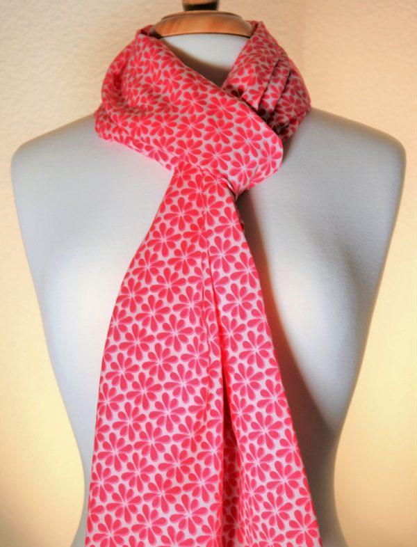 Pretty-N-Pink Bright Pink Silk Scarf   White Dainty Flowers