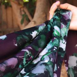 Rays of Purple-N-Green Charmeuse Silk Dark Purple Scarf