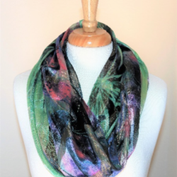Colorful Waves Infinity Loop Silk | Rayon Scarf Gold Finish