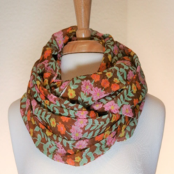 Dancing Flowers Infinity Loop Silk | Rayon Scarf