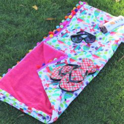 Let's Go Fishin Fuschia Handmade Adorable Playful Beach Towel