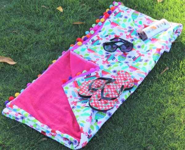Let's Go Fishin Fuschia Handmade Adorable Playful Beach Towel