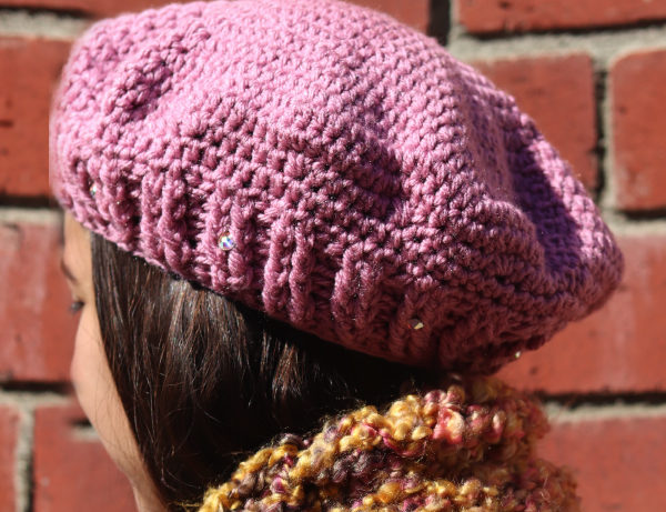 Dusty Rose Blush Colored Beret | Swarovski Crystal Accents